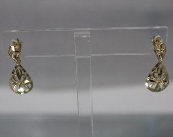 14k - Vintage Star Cross Fleur De Lis Like Diamond Cut Dangle Earrings in Yellow Gold