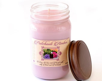 Patchouli Amber - Natural Soy Candle - 16 oz