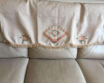 Vintage 1930s Silk Blend Orange Embroidered  Sofa Back Throw
