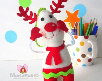Felt Reindeer Ornament,  Christmas Ornament Pattern, Baby Reindeer Pattern  Instant Download A1175