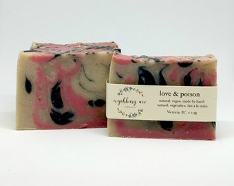 Love and Poison Cold Process Soap, Handmade Soap Canada, Pink and Black Soap, Natural Soap with Shea Butter, Natural Soap Without Chemicals