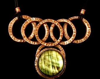 Hammered Copper Labradorite Necklace