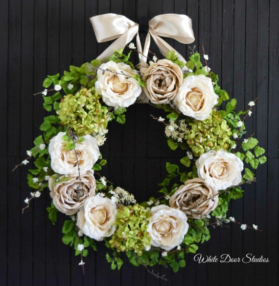 Romantic Rose and Hydrangea Spring and Summer Front Door Wreath