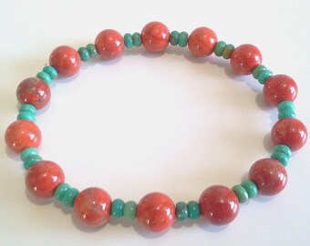 Blue Turquoise Bead Bracelet, Southwest Inspired Jewelry, Tribal Jewelry, Blue and Red Beaded Stretch Bracelet, All Nonmetal Components