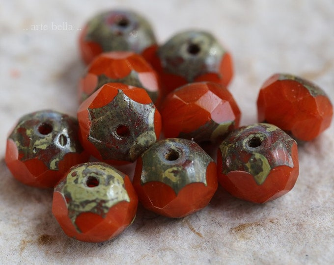 RIPE .. NEW 10 Premium Picasso Czech Glass Rondelle Beads 6x8-9mm (6309-10)