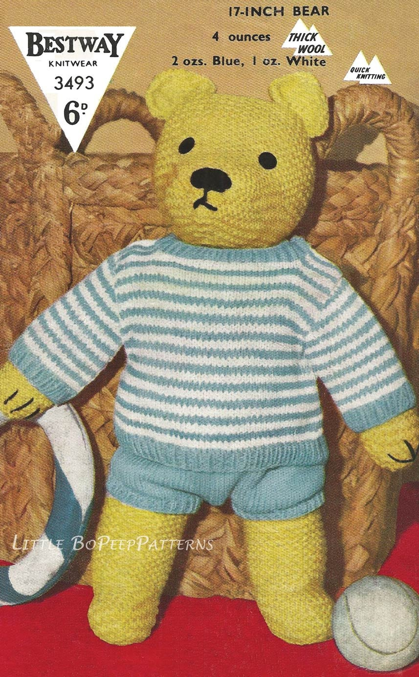 Teddy Bear to knit and clothes top and shorts knitting pattern - PDF ...