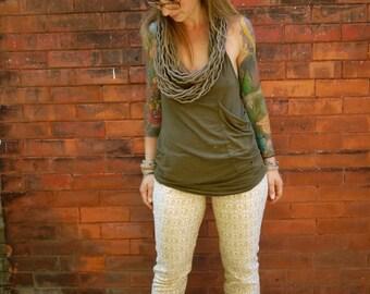 Vintage Printed Cotton Pants~Womens Trousers~Elastic Waist Pants~Leggings~Pants with Pockets~Tapered Pant~Casual Pants~Retro Pants~Maternity