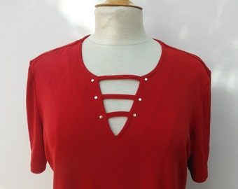 Vintage Red Cut Out Lace Up Top - Size 12 14 16 L