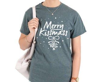 Merry Kissmas Christmas T-shirt Top Shirt Tee Fashion Xmas Funny Ho Mistletoe Kiss