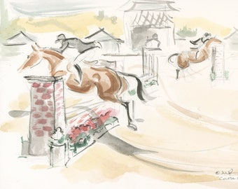 """Horse Art, Hunter Jumper Painting,Original Watercolor by Anna Noelle Rockwell, """"Course Work"""""""