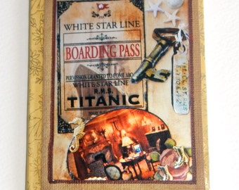 Titanic travel journal, junk journal, art journal,  mini composition book,  vintage diary, smash book , purse notebook ,handmade journal