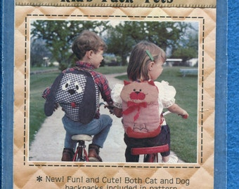1980 Patch Press 335 Kitty Cat & Puppy Dog Back Packs for Kids UNCUT