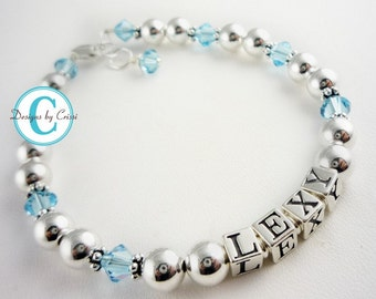 Aquamarine birthstone name bracelet for girls