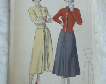 Vintage Mid Century Butterick Pattern 5206 Misses Two Piece Dress Size 12 Factory Fold