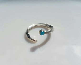 Sterling silver turquoise abstract snake ring, size 6-7