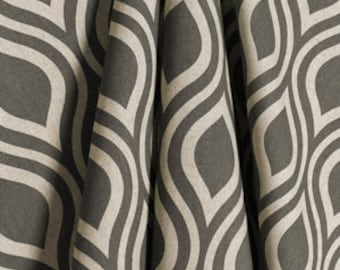 GREY GEOMETRIC CURTAINS-  Designer Window Panels - Shower Curtain, Valance - Unlined, Curtains, Grey on natural