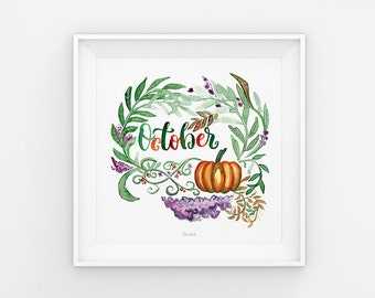 October lettering with watercolor flowers, download, print template, printable, 21 x 21 cm, calendar, square, painting, seasonal