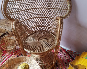 Vintage 1 Wicker Rattan Fan Back Peacock Children Chair...Boho Ibiza home decor...Wicker rattan Child seat...kids Room...Bohemian style...