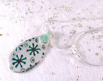 """Modern enameled 999 silver pendant, """"LEAVES"""""""
