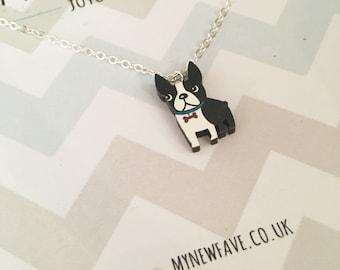 Boston Terrier Necklace, Boston Terrier, Boston Terrier, Dog jewellery, pet jewellery, wooden laser cut pendant, dog necklace, dog lover