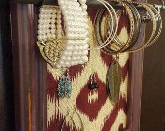 Distressed frame jewelry organizer, jewelry holder with ring/bracelet bar, frame earring holder, burlap earring holder