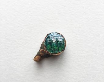 Redwoods, Original Miniature Oil Painting
