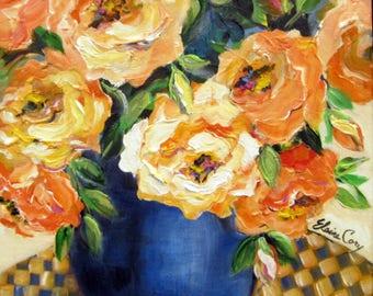 Blue Vase Original painting by Elaine Cory Canvas art