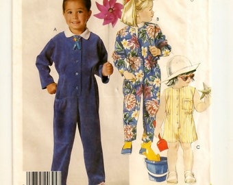 """A Sleeveless or Long Sleeve, Long Jumpsuit or Short Playsuit Sewing Pattern: Uncut - Children's Sizes 4-5-6 Breast 23"""" - 25"""" • McCall's 2888"""