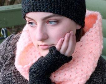Fingerless mittens  black chunky fingerless gloves wristlets wool arm warmers GIFT FOR HER