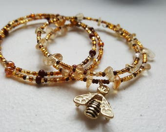 Bee Bracelet Set.Hand beaded in gold and browns with Citrine stones.