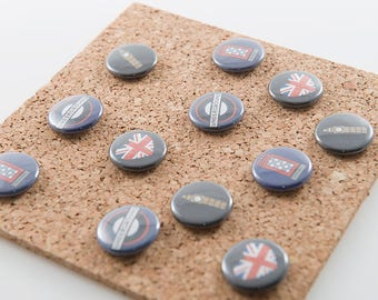 London Buttons Pins- set of 4, 1 inch