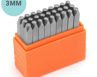 Basic Uppercase Alphabet Metal Stamp Set - ImpressArt - 3mm Letter Stamps - Sans Serif Font Similar to Arial
