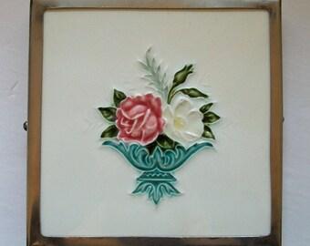 Vintage ceramic tile trivet - English basket of roses / flowers - in metal frame