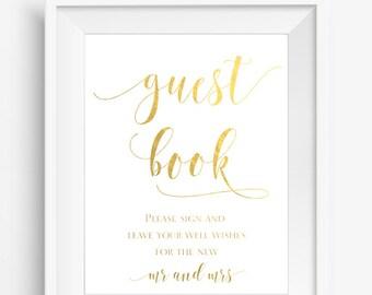 Guest Book Sign, Gold Foil Wedding Sign, Please Sign our Guest Book, Wedding Sign, Reception sign, Real Gold Foil Print