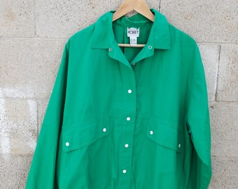 Kelly Green 1980s Vintage Coach Jacket Windbreaker. by Goodies and Co.