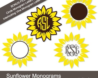 SALE! Sunflower svg, dxf, png, jpg, pdf cut file, Sunflower Digital Download, Sunflower Monogram, Sunflower Pattern, Sunflower Clipart