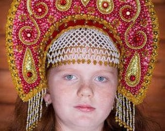 "Headdress Kokoshnik ""Ulyana"" - Russian traditional Folk Costume"