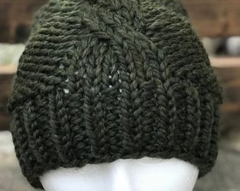 Cable knit slouchy hat