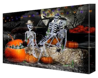 "Halloween Skeleton Party w Pumpkins Canvas 11"" x 14"""