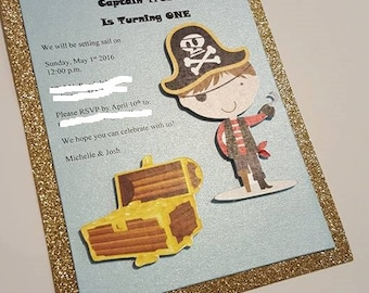 Boy Pirate Invitations in 3rd with glitter, pirate invitations, pirate theme, boy pirate blue and gold invitations pirate decorations pirate