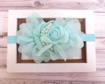 Aqua Baby Headband,Baby Flower Head Band,Baby Hair Bow,Newborn, baby girl headband, toddler hair bow, girl flower headband, baby hair bow