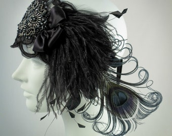 Black Lace Flapper Feather Headband