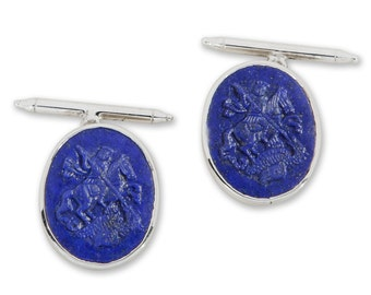 Lapis Cufflinks Saint George Dragon Handmade Carved Sterling Silver 925