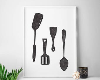 Kitchen art decor, Scandinavian print, kitchen utensils print, kitchen print, Scandinavian minimalist print, Scandinavian art housewares