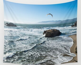 "California Ocean and Sky - Large Tapestry, Wall Hanging, Wall Art (68x80"")"