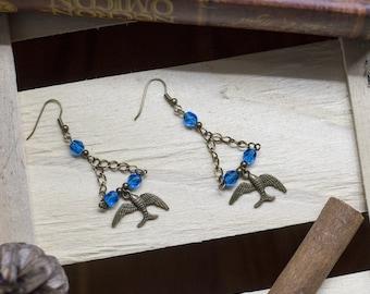 pair of swallows pin-up - rockabilly - rock - metal - rockabilly - punk - psychobilly - romantic - spring earrings