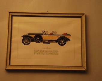 Isetta Fraschini 8 A-vintage car print from the 60s with frame behind glass (a total of three on offer)