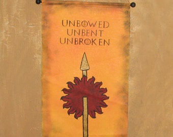 """Large Hand Painted  House Martell """"Unbowed Unbent Unbroken"""" Canvas Banner - Game of Thrones - Sunspear  - Sigil -  Red Viper"""
