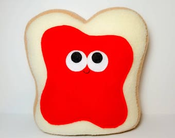 White Bread With Strawberry Jam - Plush Food