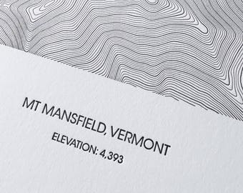 Mount Mansfield Topographic Poster - Letterpress